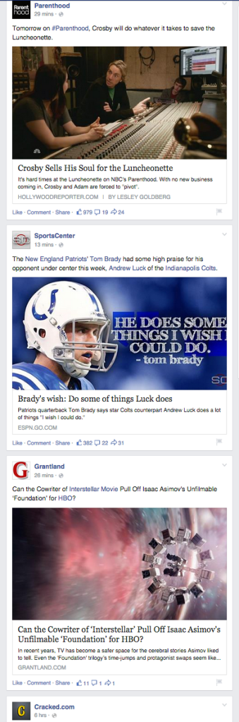 Facebook screenshot taken Wednesday afternoon November 12, 2014